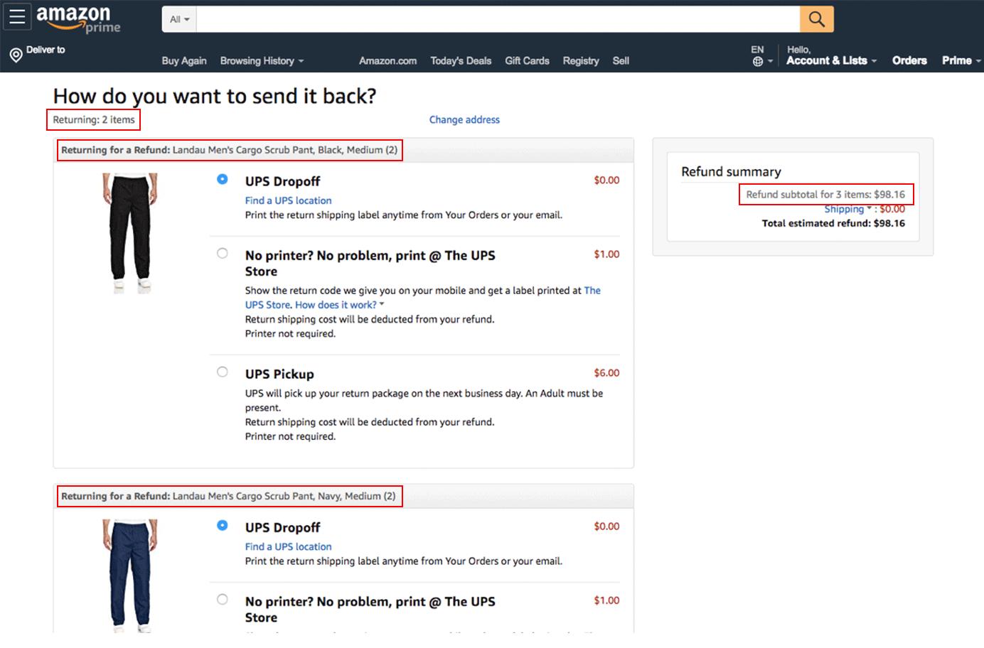 Amazon's returns page displays inconsistent quantity information.