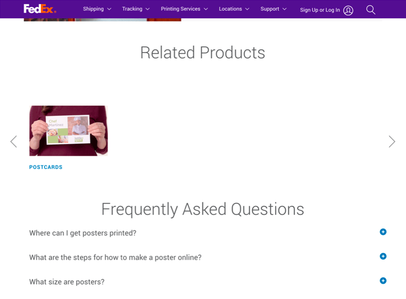 A product carousel on FedEx that is missing several items.
