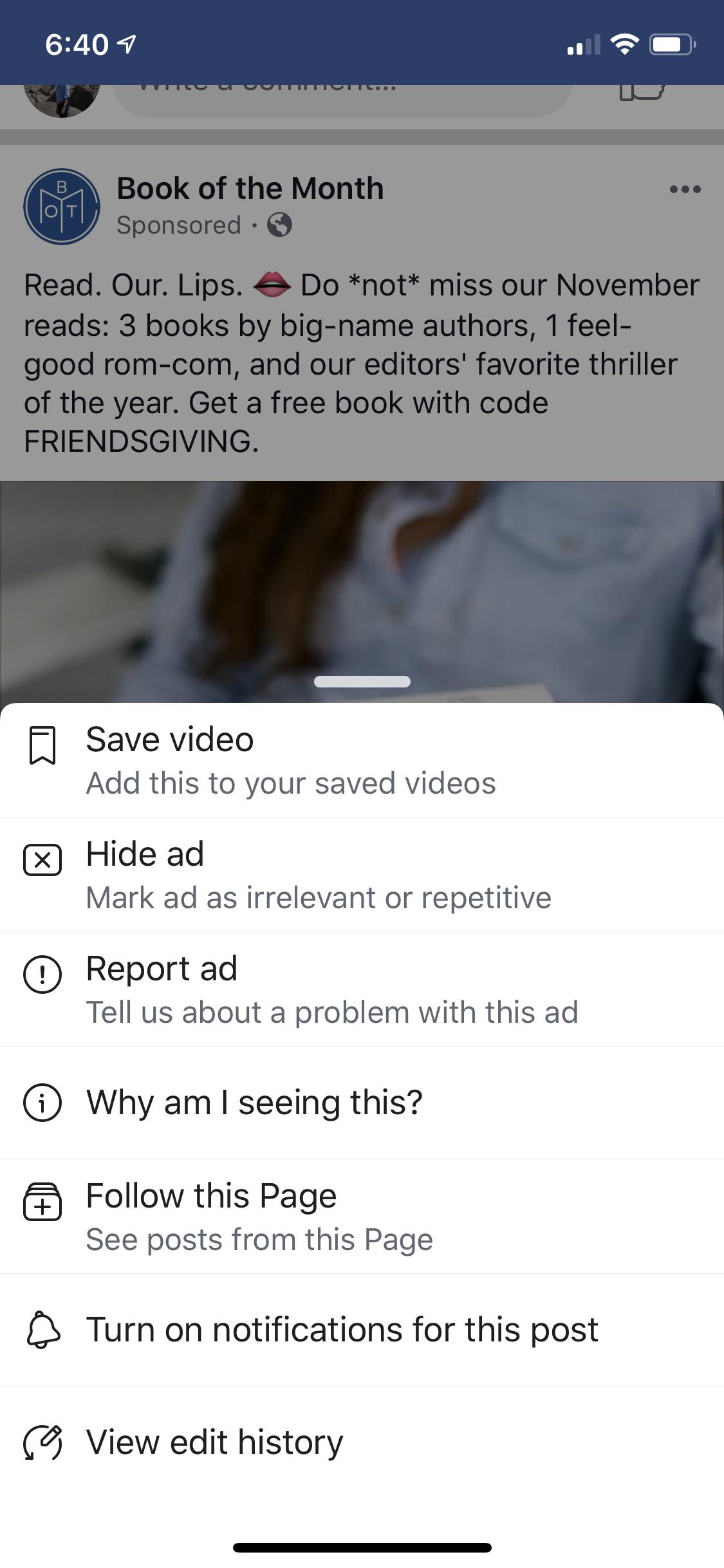 Facebook更多与广告相关的按钮