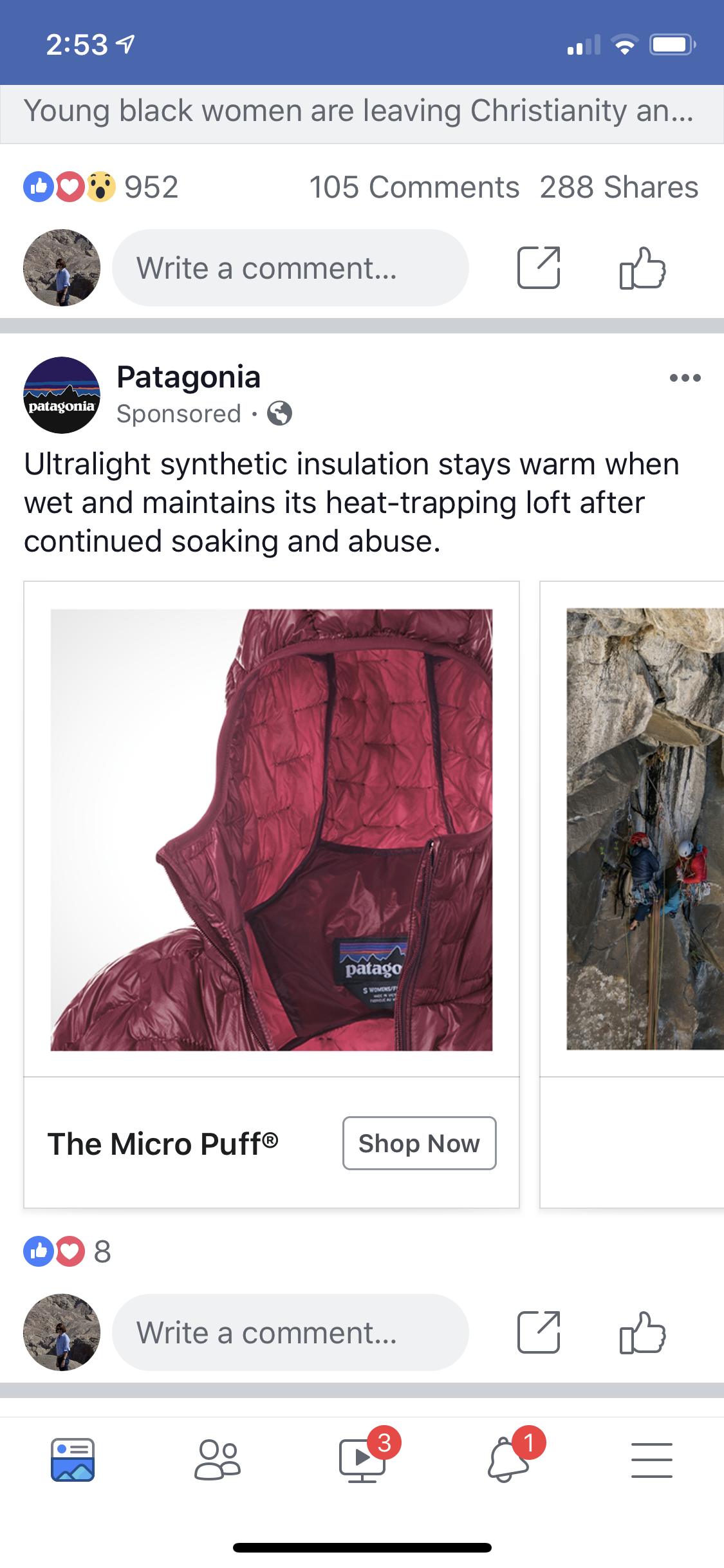 Facebook上的巴塔哥尼亚广告
