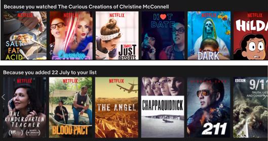 """两个Netflix列表:""""因为你看了《克里斯汀·麦康奈尔的奇妙创造》和""""因为你增加了7月22日名单"""""""""""