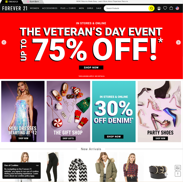 Forever 21's homepage