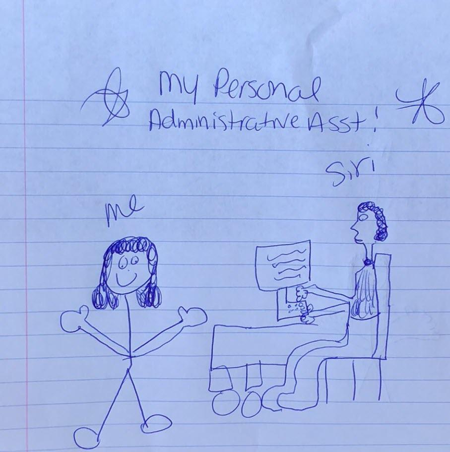 """坐在办公桌旁的一个人在电脑上工作时,头上贴着""""siri""""的小棒图。标题说:我的个人行政助理"""