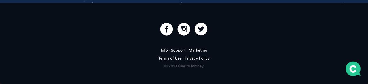 Clarity Money的页脚