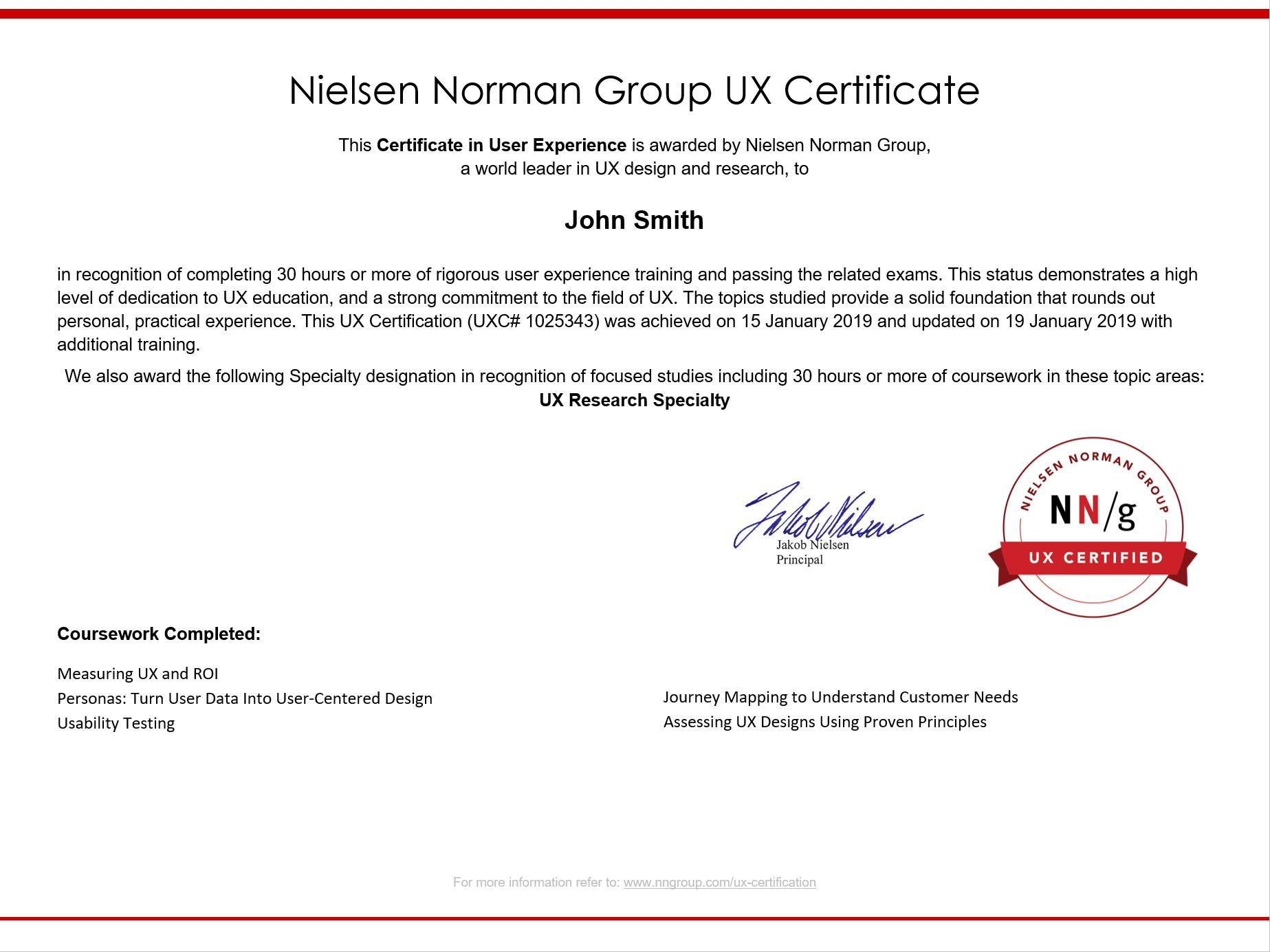 示例UX证书