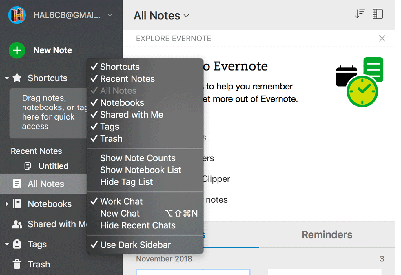 Evernote contextual menu