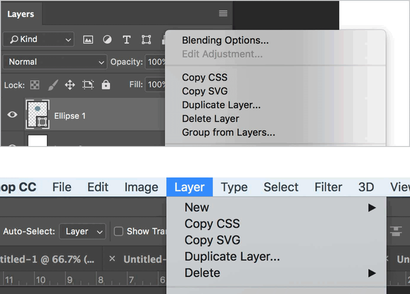Photoshop Contextual Menu in Layers