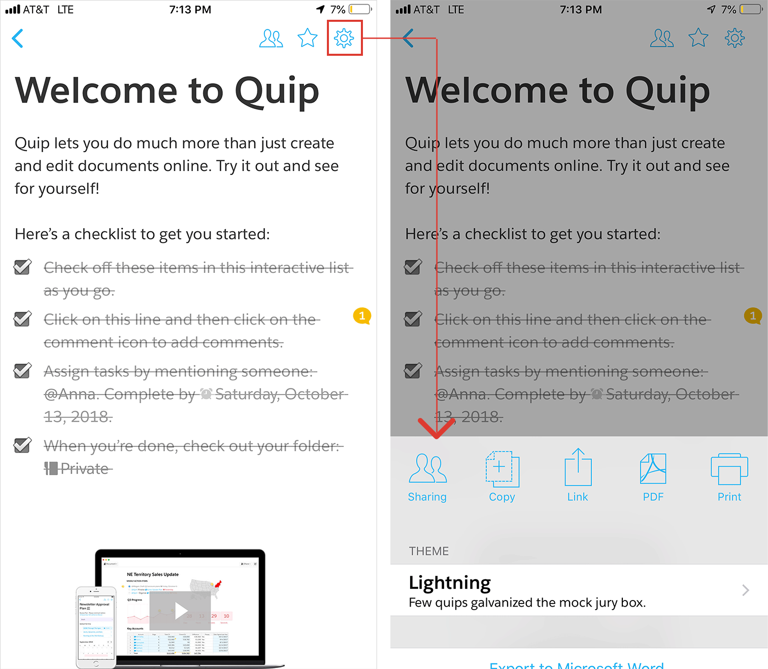 Quip contextual menu using a settings icon.