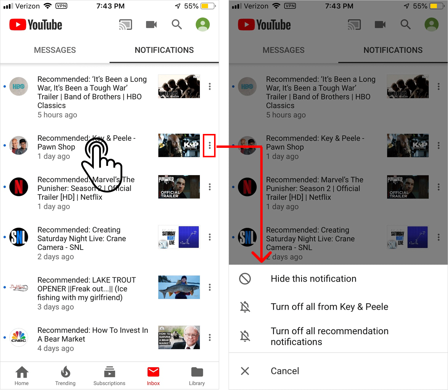 YouTube contextual menu with commands in frequency of use order.