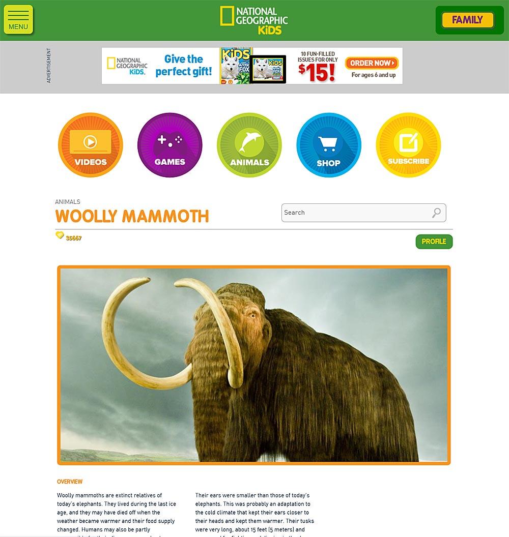 《国家地理》的孩子们:关于长毛猛犸象的网页截图