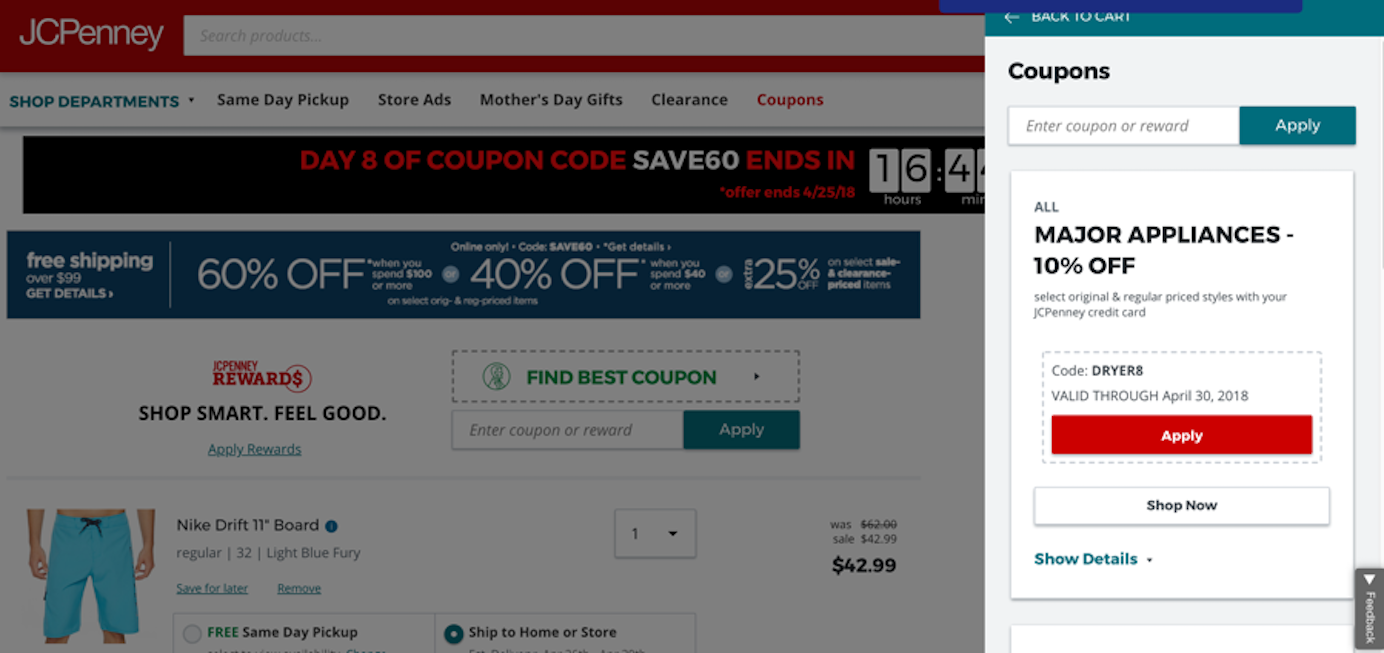 JC Penny coupon search