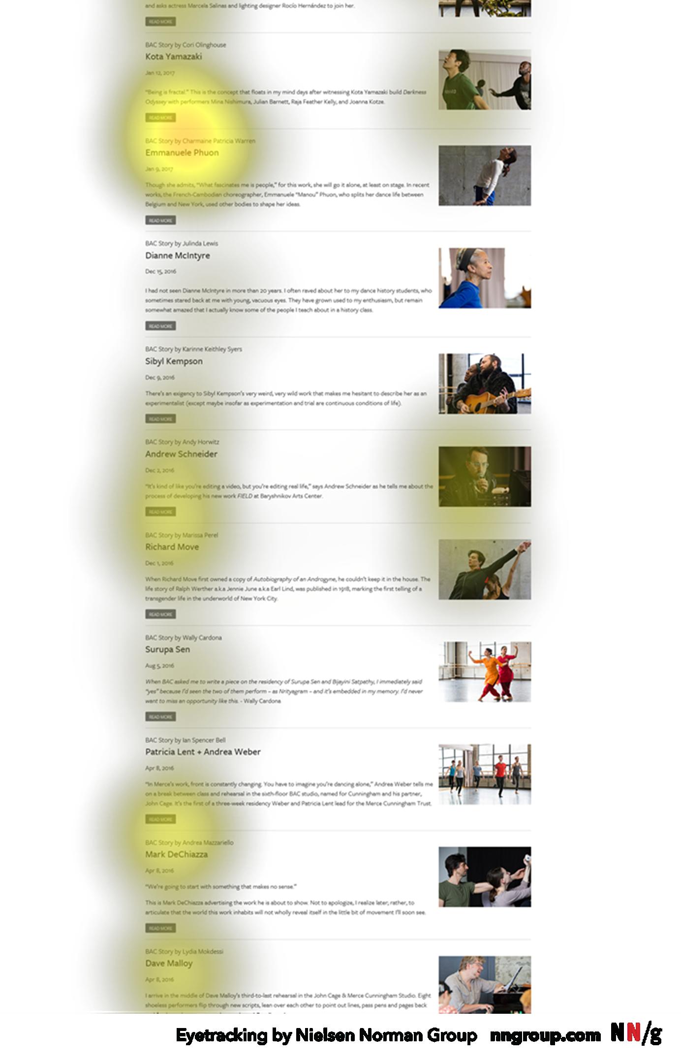 """眼睛跟踪热图将黄色的""""热度""""覆盖在页面的副标题上。"""