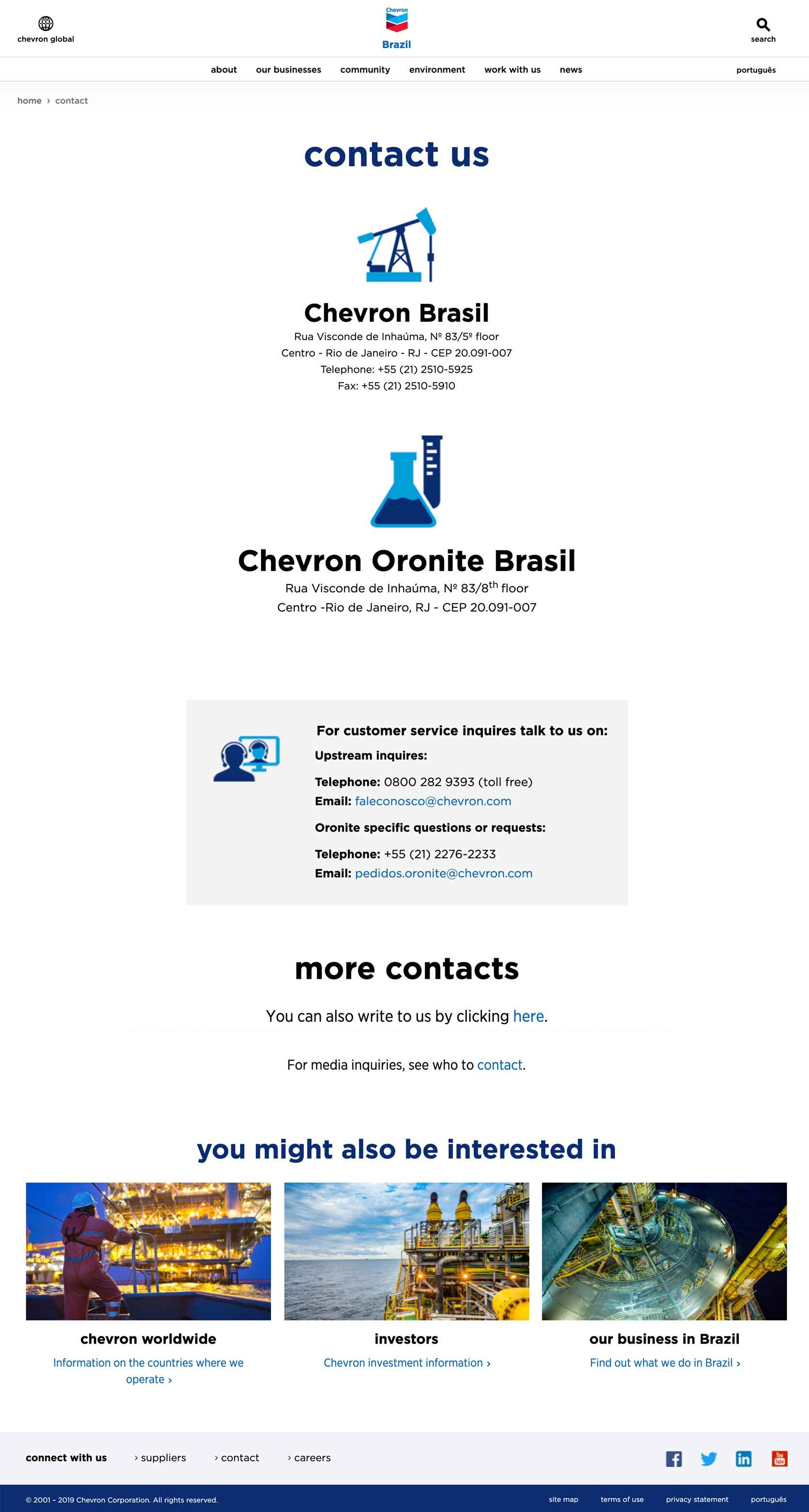 Chevron Brazil includes all location-specific contact information.