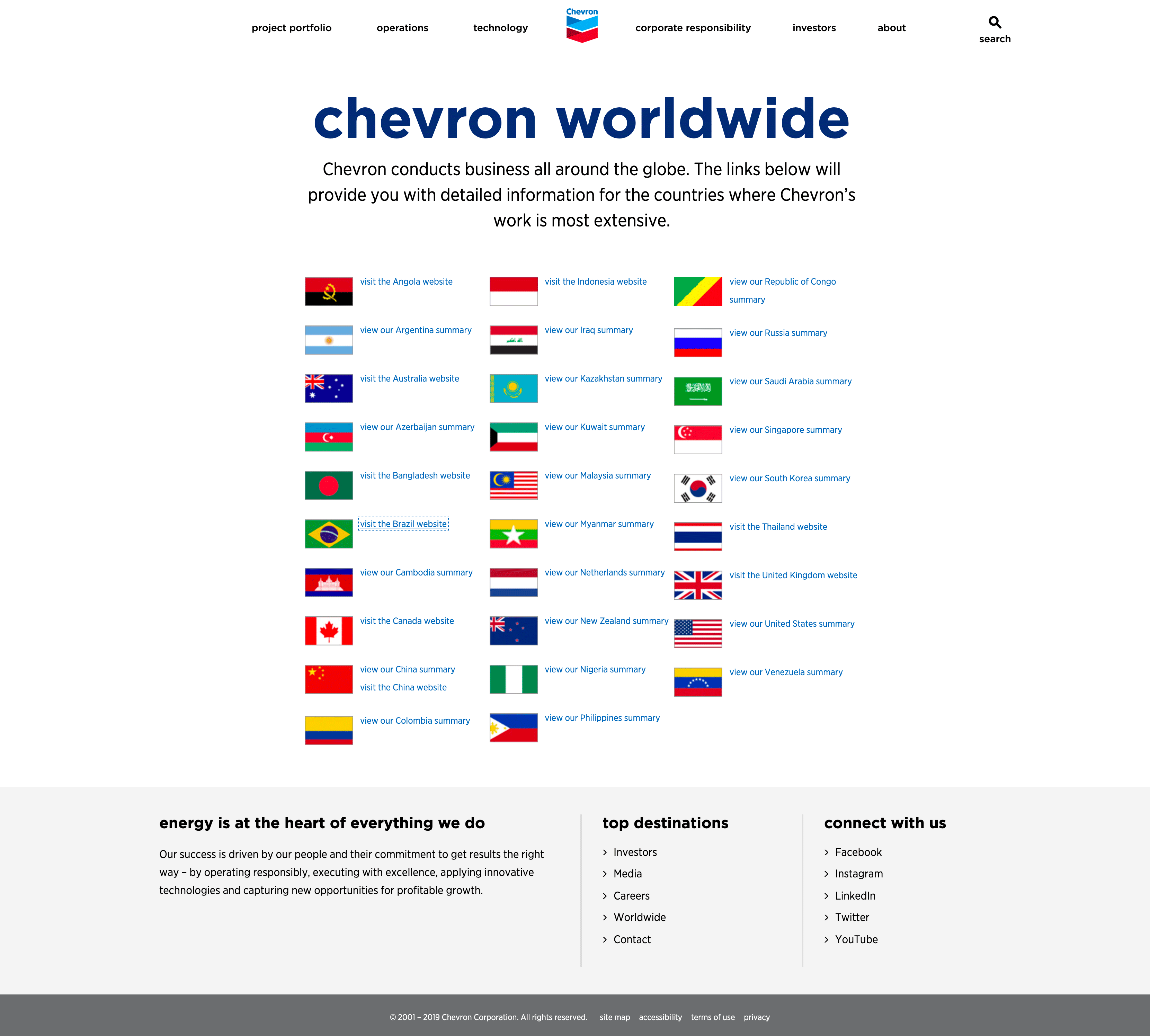 Chevron offers contact information for all of its offices worldwide.