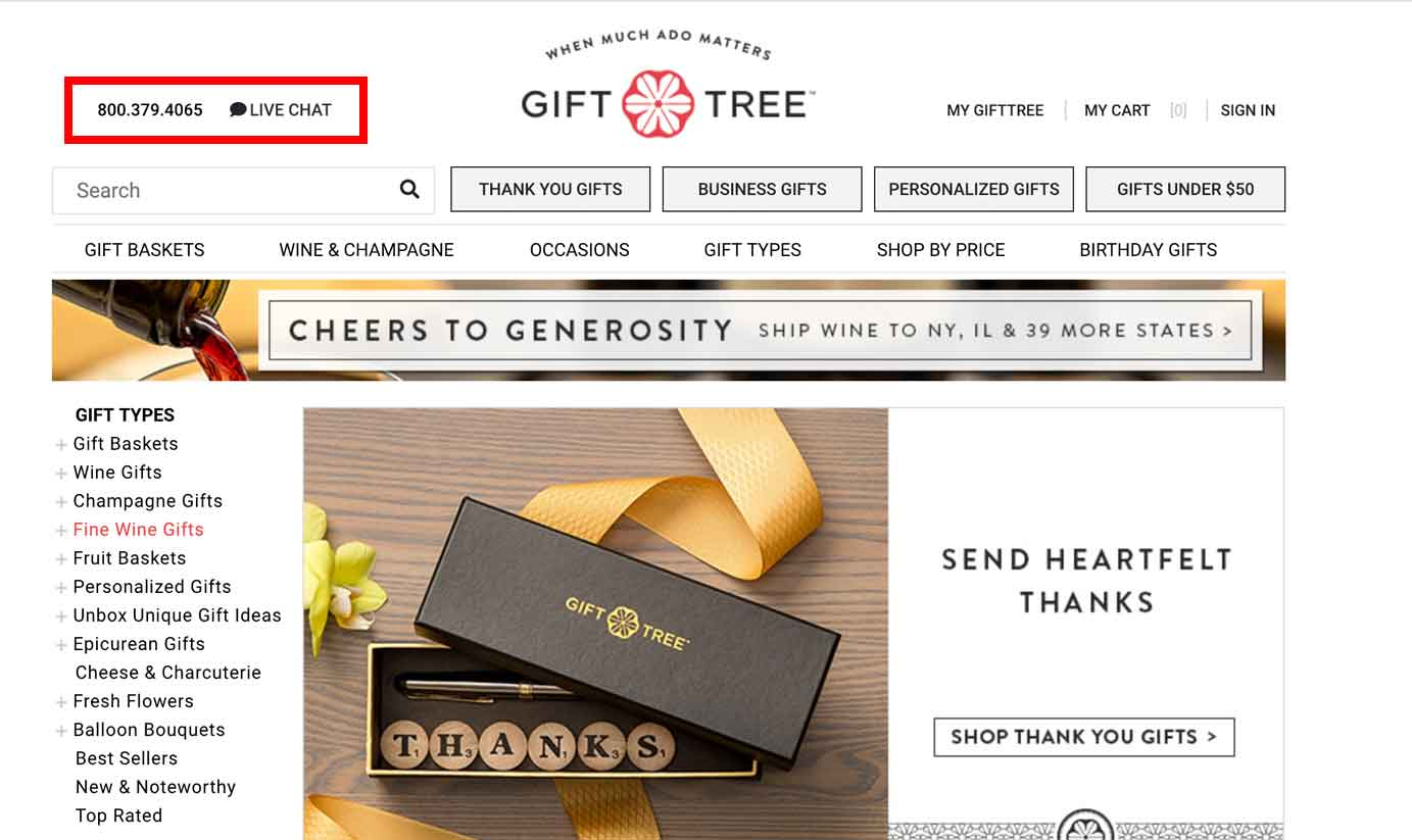 GiftTree included their contact information in the header.