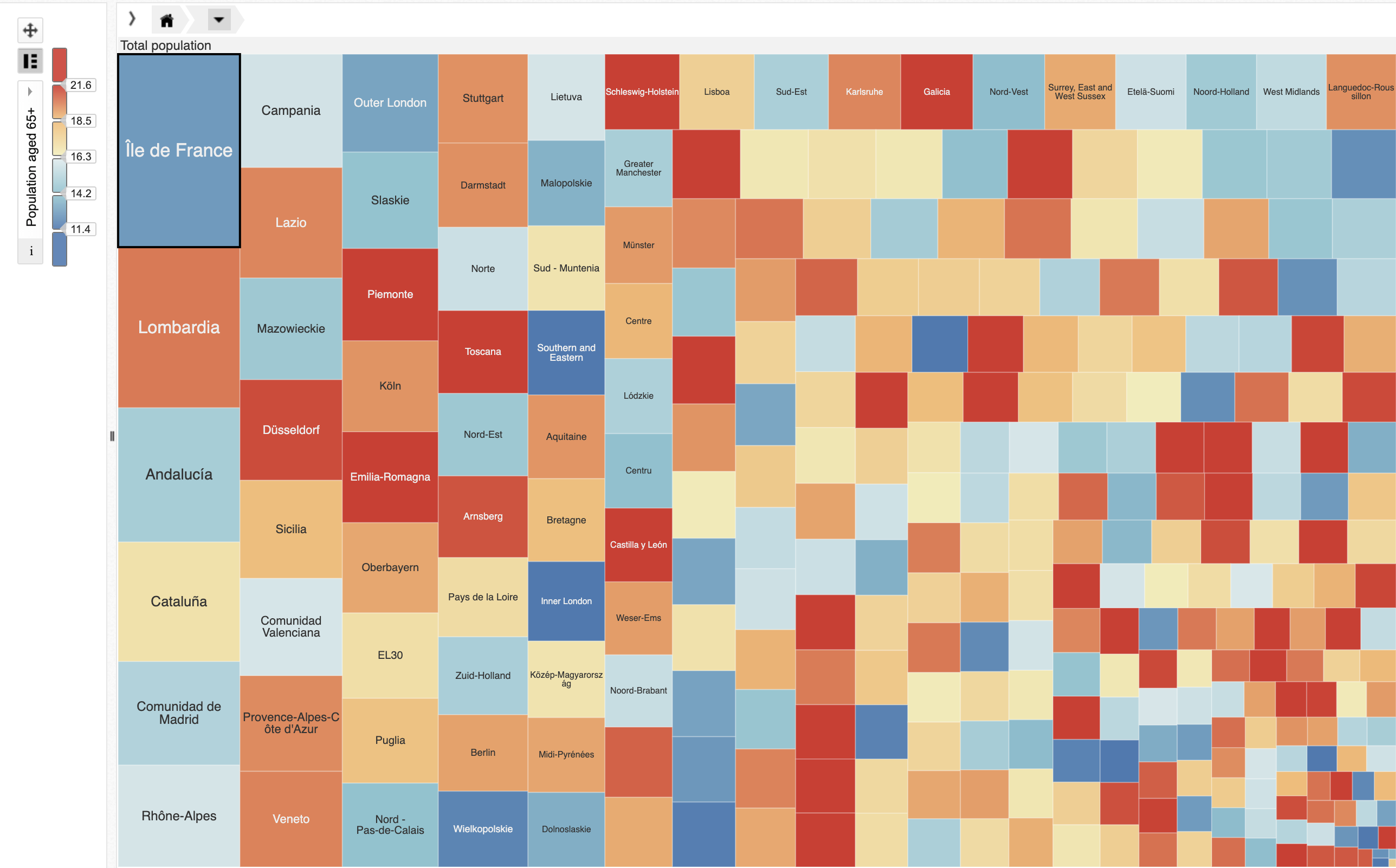 An overly colorful treemap