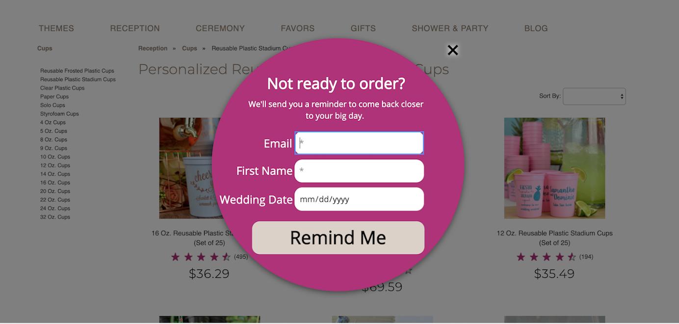 wedding reception ideas exit intent