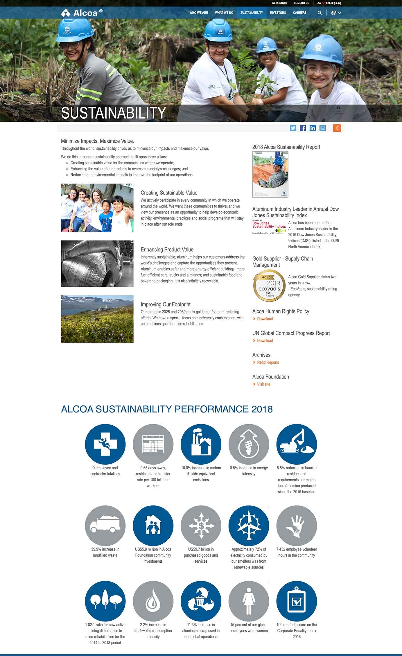 Aloca includes a detailed sustainability section on their website.