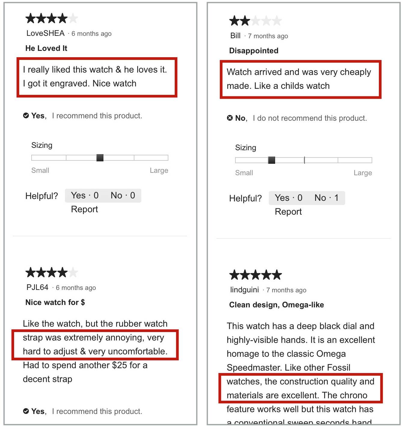 Four mobile product reviews, side by side