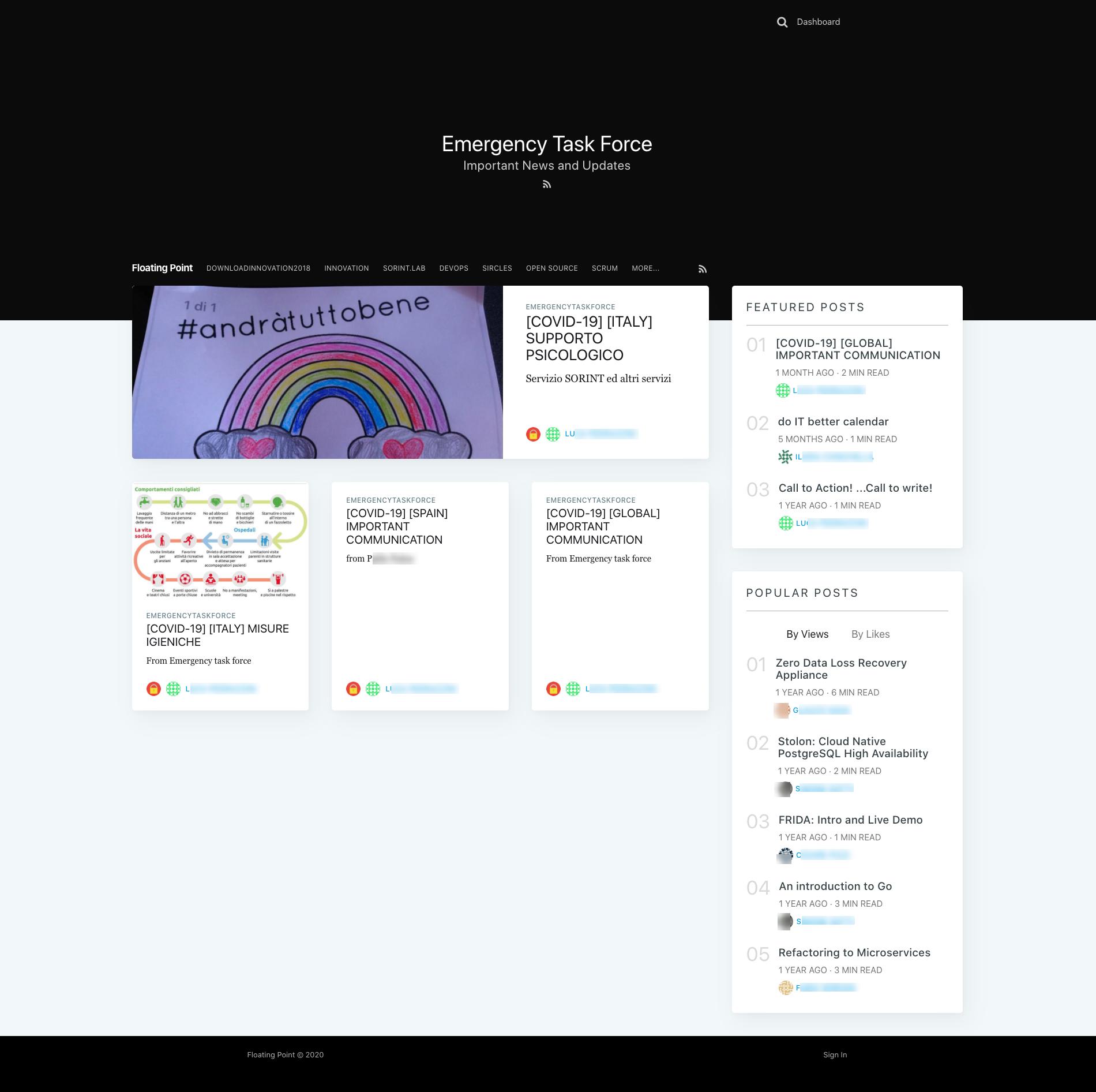 """左上角的彩虹图像,4张牌与文本,""""特色帖子""""链接的右轨道和""""流行帖子"""""""