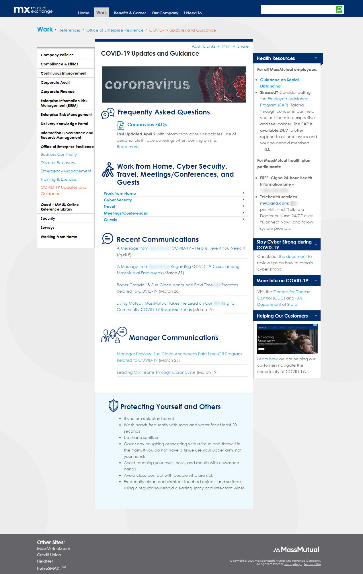 """左侧导航与""""企业恢复行程""""部分扩展显示""""Covid-19更新和指导""""链接;具有冠状病毒相关链接的一列内容部分"""