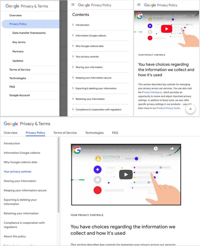Скриншоты для мобильных и настольных ПК страниц конфиденциальности и условий использования Google