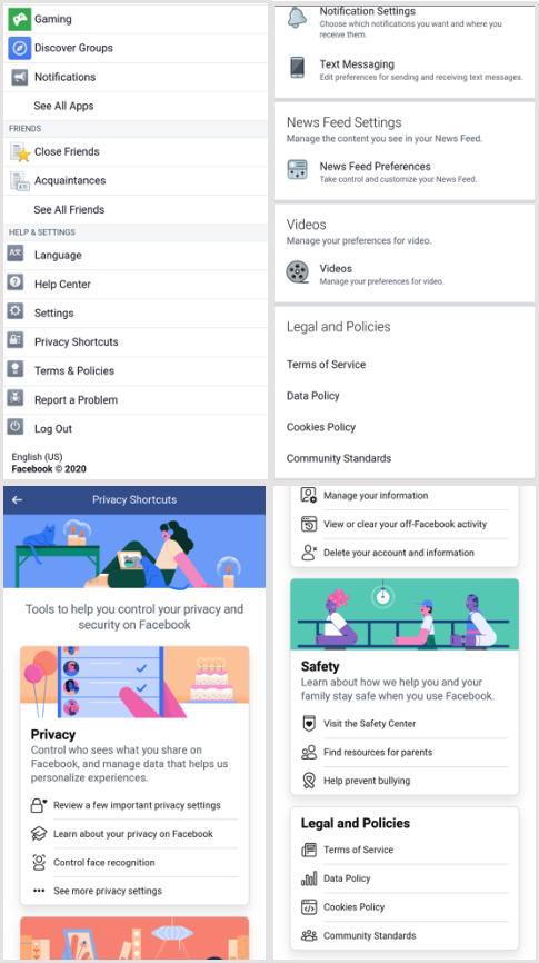 Четыре скриншота разных страниц приложения Facebook со ссылками на политику конфиденциальности.