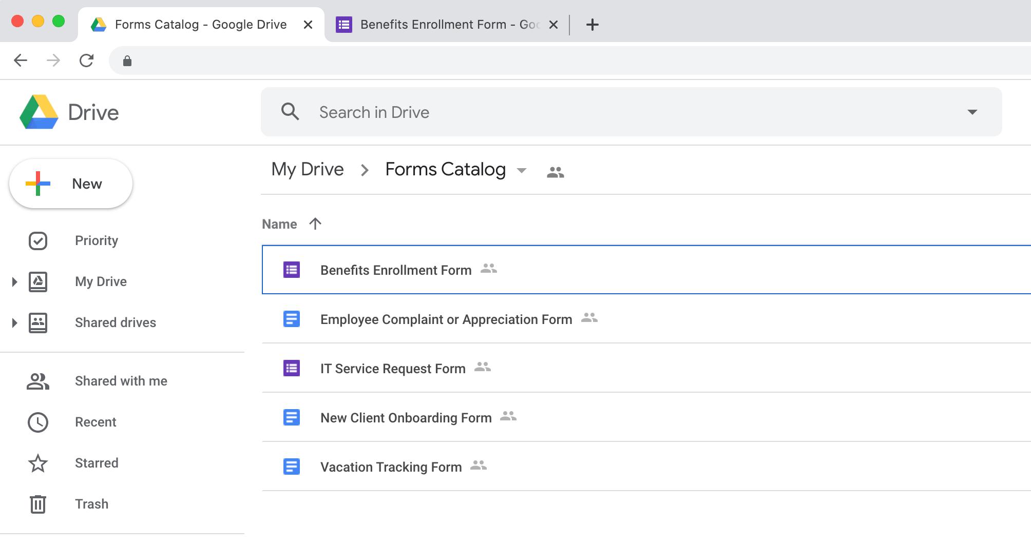Google Диск открывает новые вкладки для каждого типа документа.