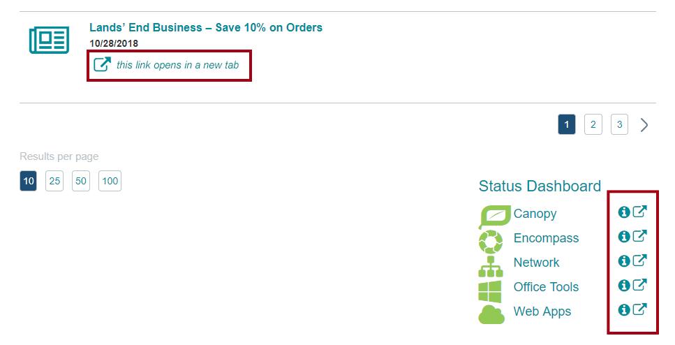 Интранет использует значок и текст для предупреждения пользователей об открытии нового окна или вкладки.