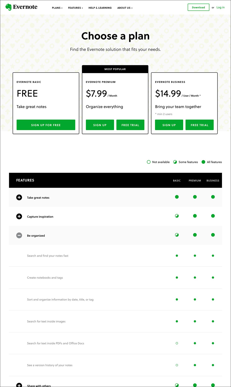 截图选择上Evernote.com计划页。