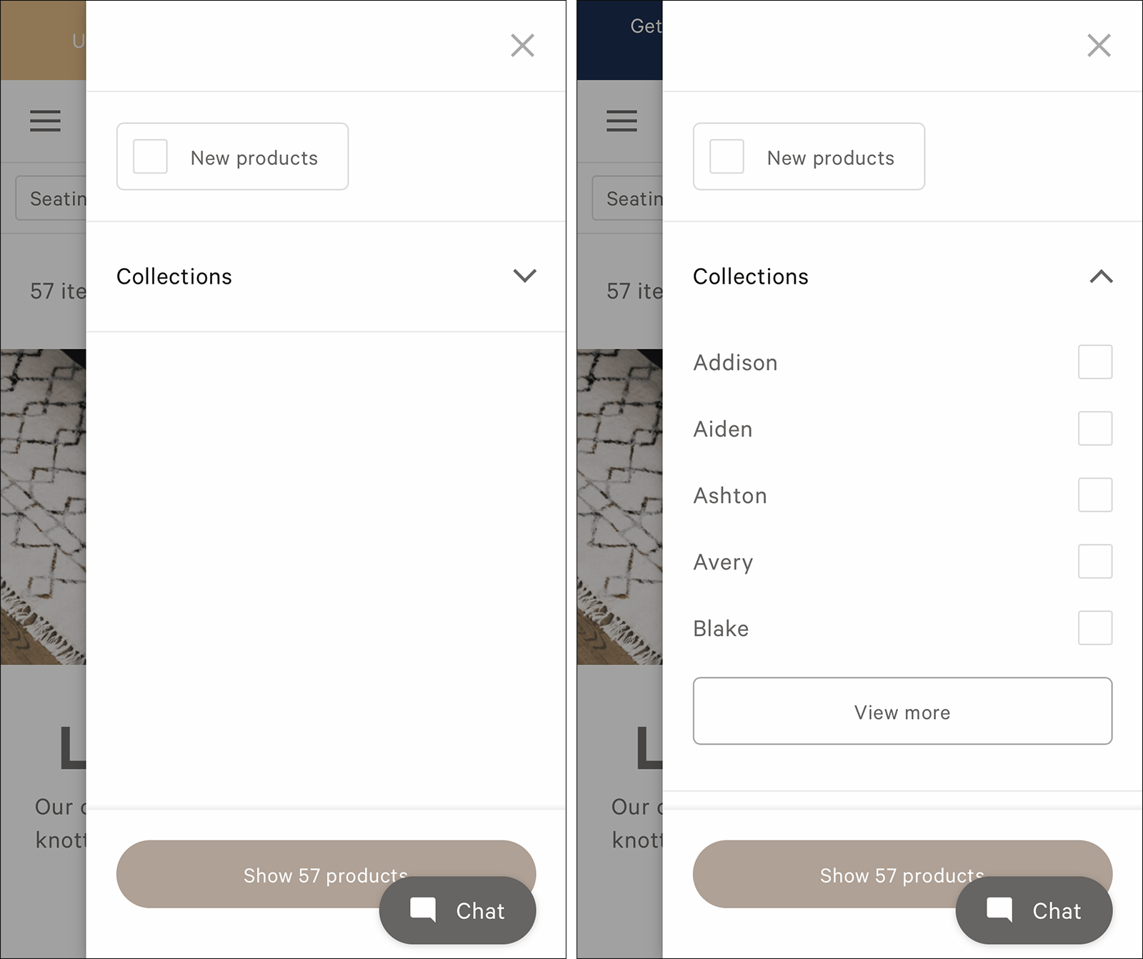 2个截图地毯鞋底过滤选项:左图像表示仅存在1类别滤波器,并且示出了收集过滤器的右图像扩大到查看无意义的名称。