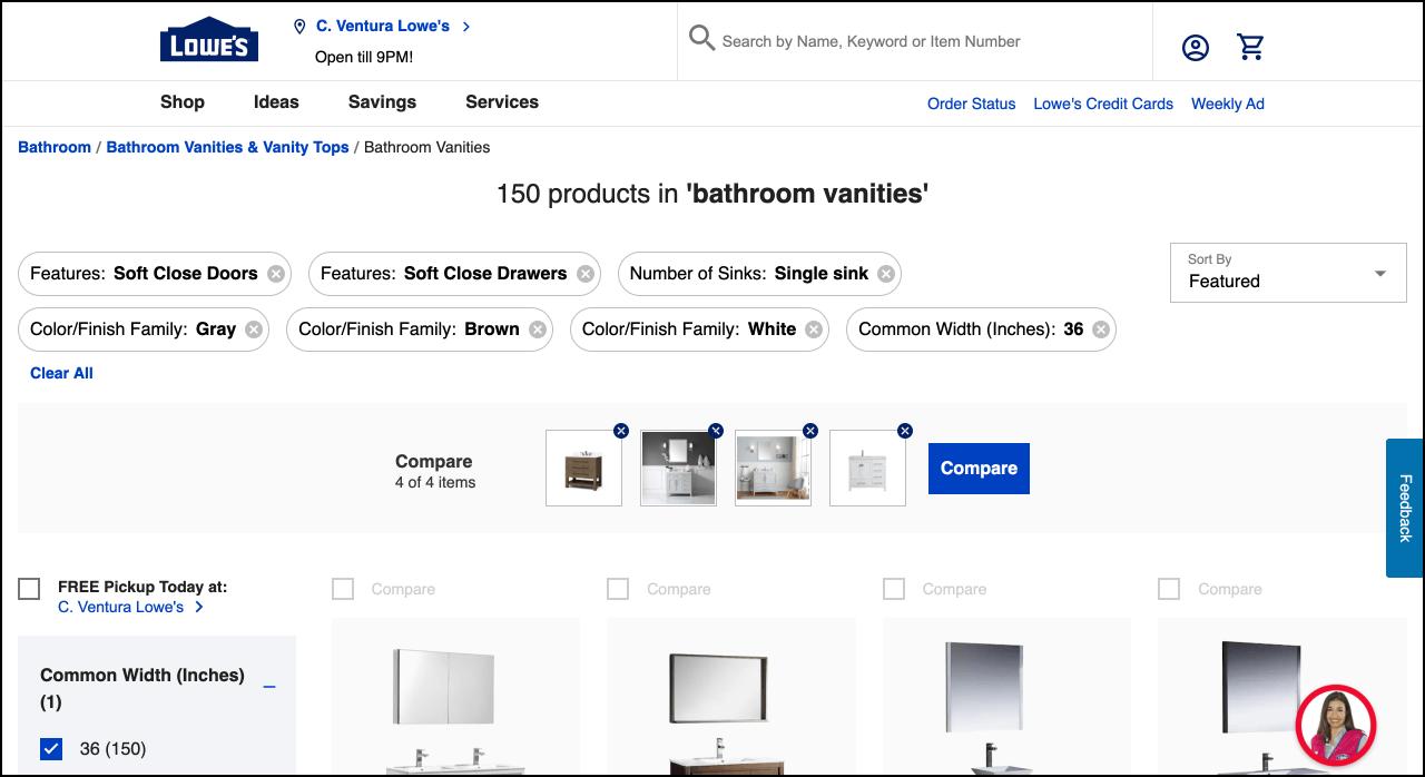 上Lowes.com一个产品详情页,示出了选择的过滤器和选择使用比较工具来比较4项的屏幕截图。