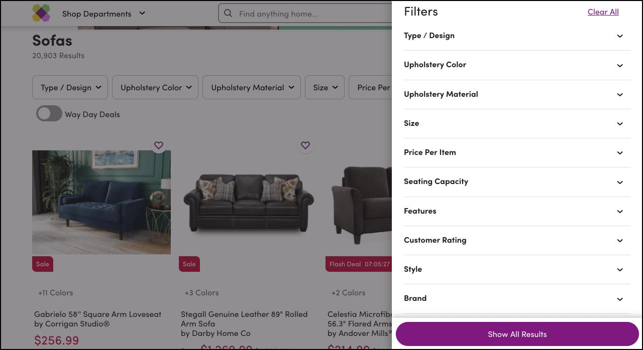 在Wayfair.com一个产品列表页面的截图,显示所有可用过滤器在屏幕右侧的覆盖面板。