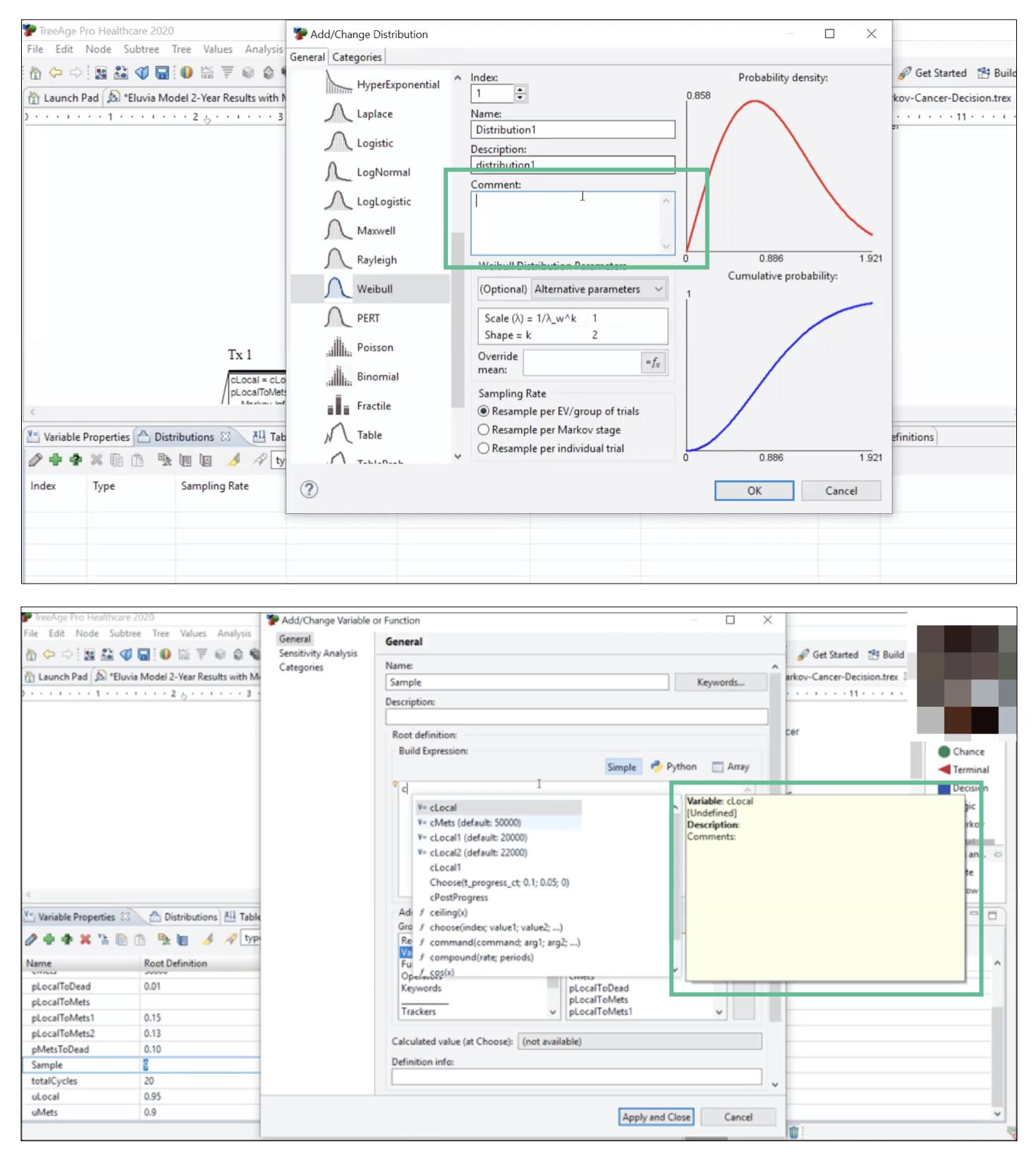 2 скриншота одного и того же веб-приложения.  один показывает возможность добавления комментария во время анализа данных.  второй снимок экрана показывает, как пользователь обращается к ранее созданному комментарию в модели данных.