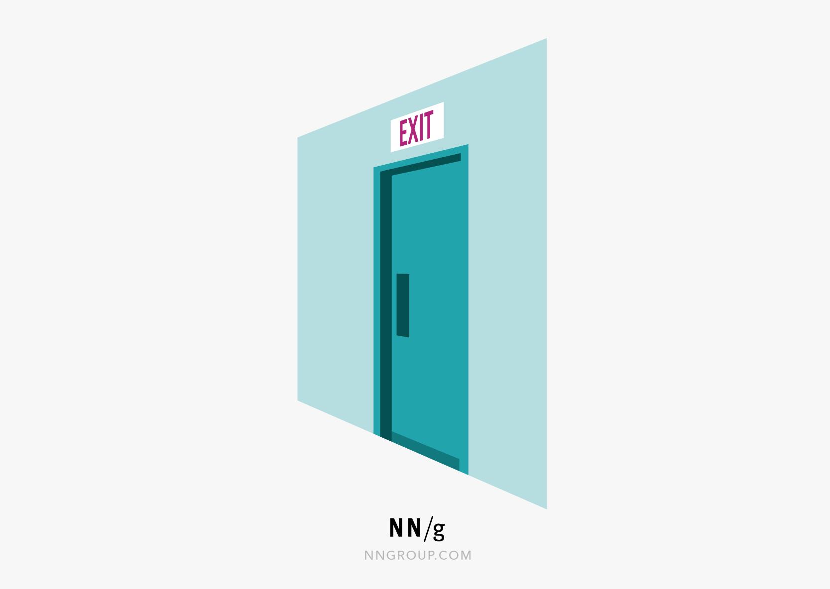 可用启发式#3:一个带有灯光紧急出口的门。