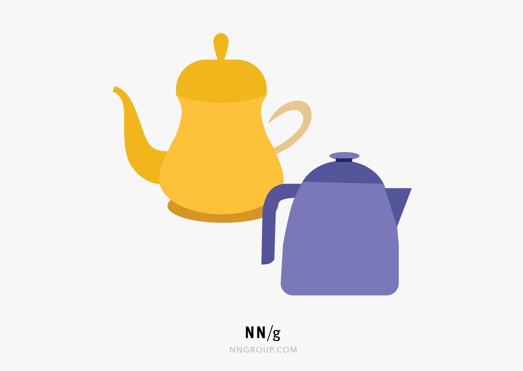 可用性启发式#8:并排的两个茶壶。一个简单而直接,另一个装饰华丽,有一个别致的手柄和弯曲的壶嘴。