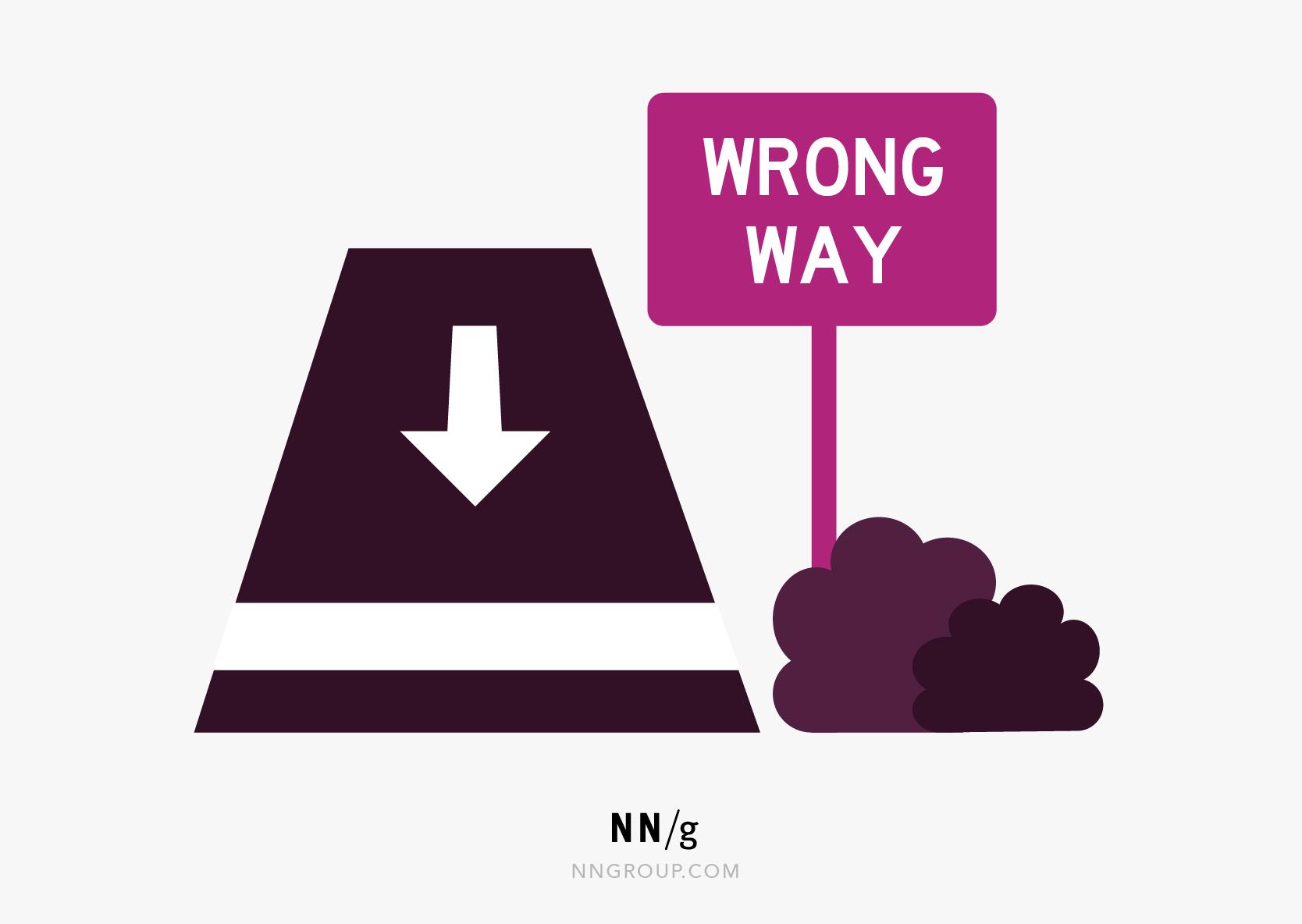 可用性启发式#9:一条带有错误方式的道路的图片,向右向右侧签署,警告司机不进入。