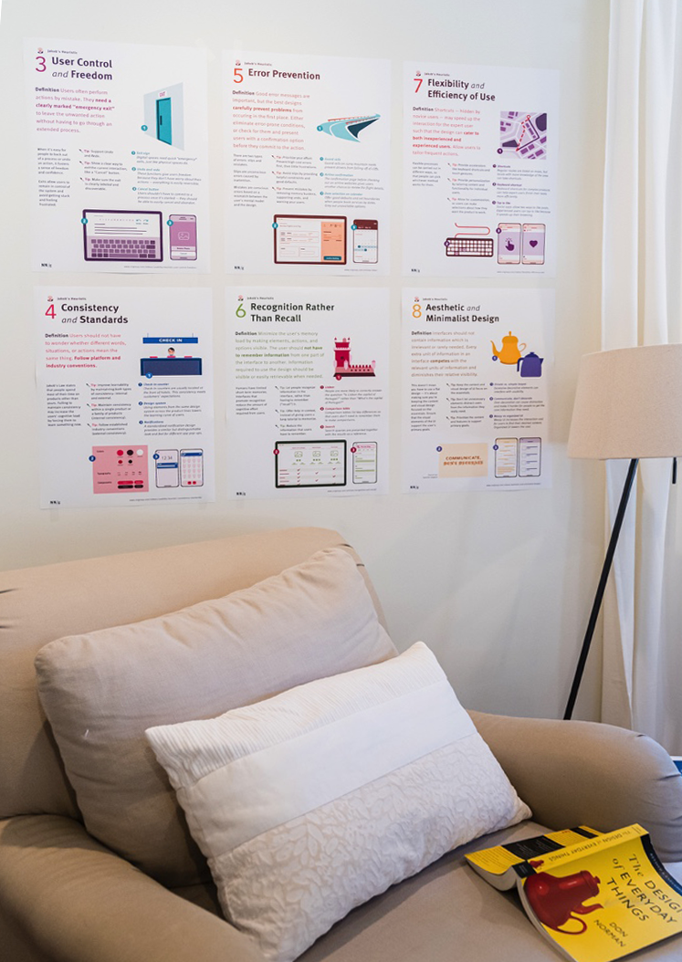 Jakob的10个可用性启发式海报挂在墙上