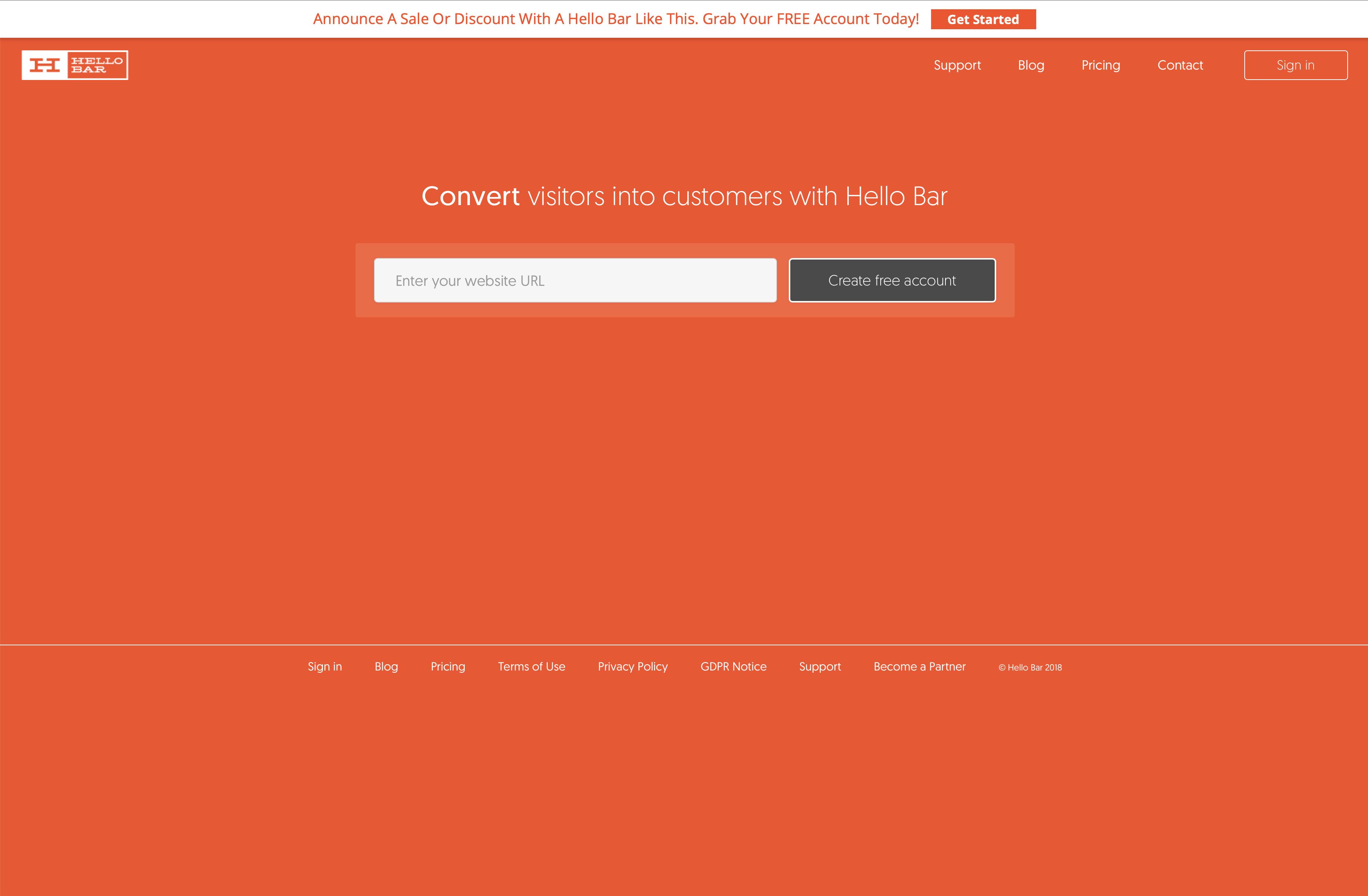 Captura de pantalla del sitio web HelloBar en el escritorio, que tiene un cuadro de texto grande y muy poca información contextual sobre el tema del sitio.