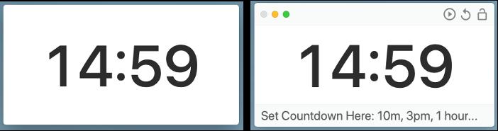 Captura de pantalla de la aplicación de escritorio Smart Countdown Timer con diseño mínimo y