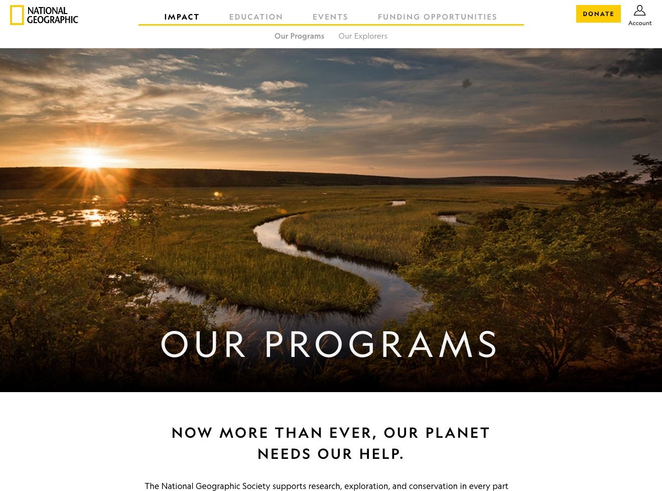 Captura de pantalla del sitio web de escritorio de National Geographic