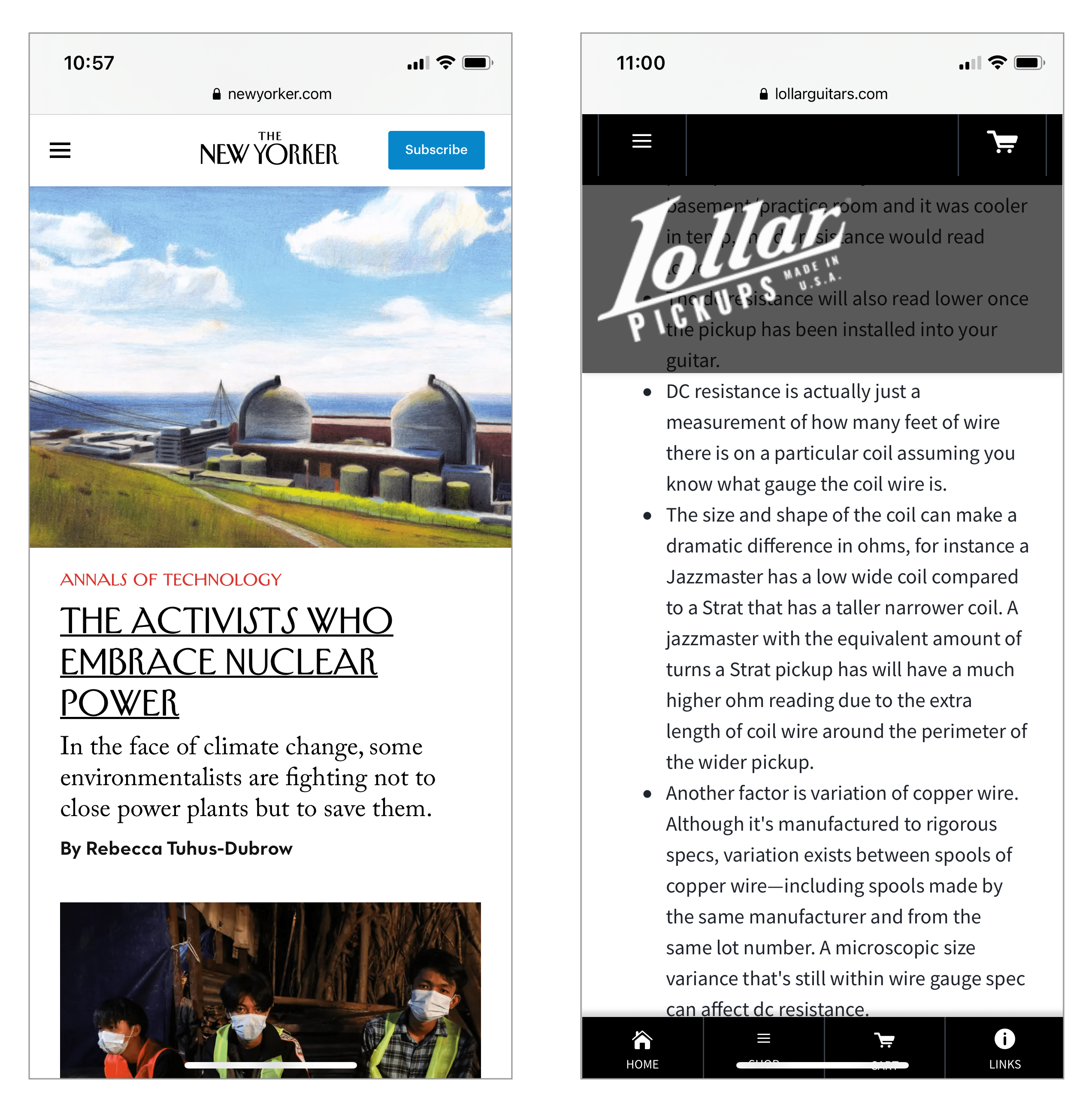 Two mobile websites with sticky headers side by side