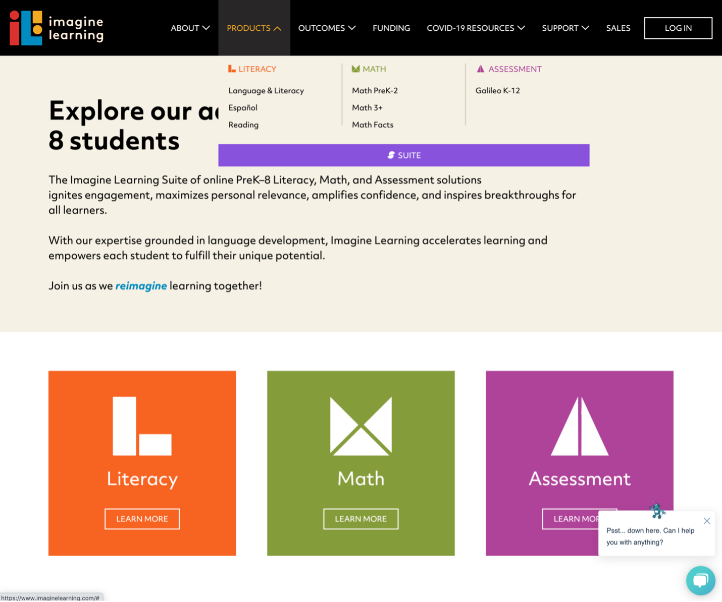 A sticky header with a visible hover-based submenu that has low contrast with the background