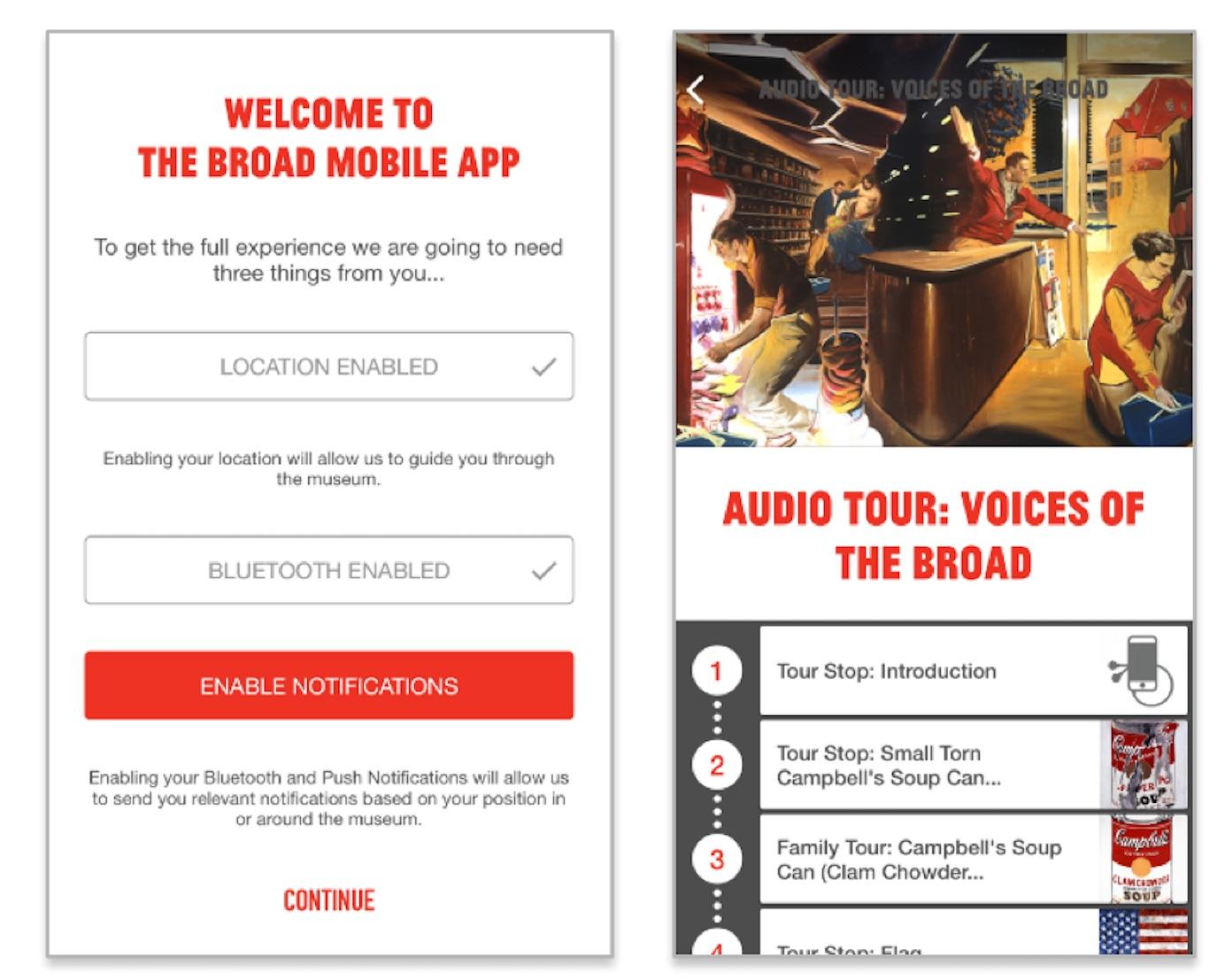 Broad museum mobile app