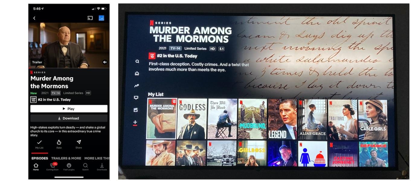Netflix智能手机应用程序来控制电视