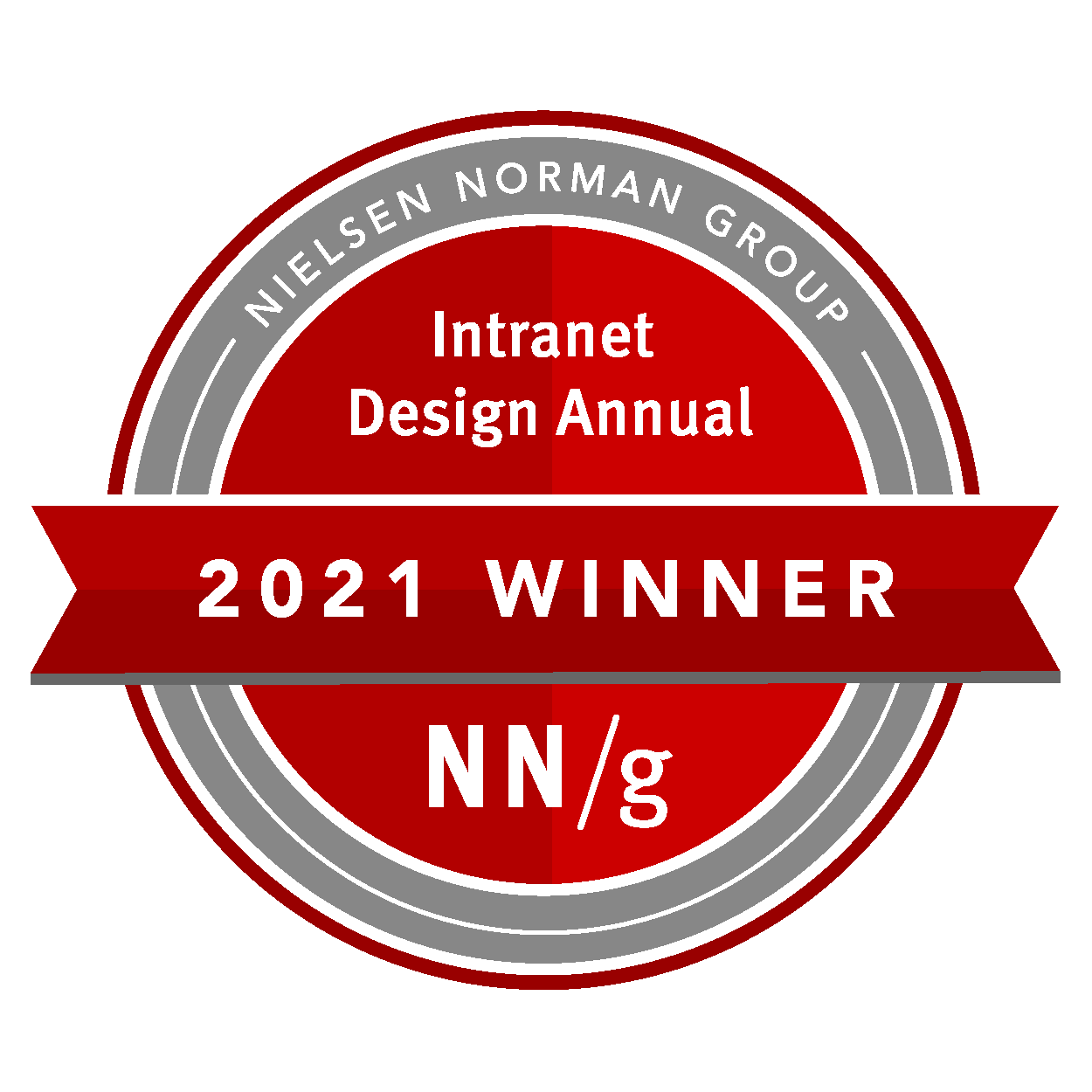 Red round badge with text: Nielsen Norman Group Intranet Design Annual 2021 Winner