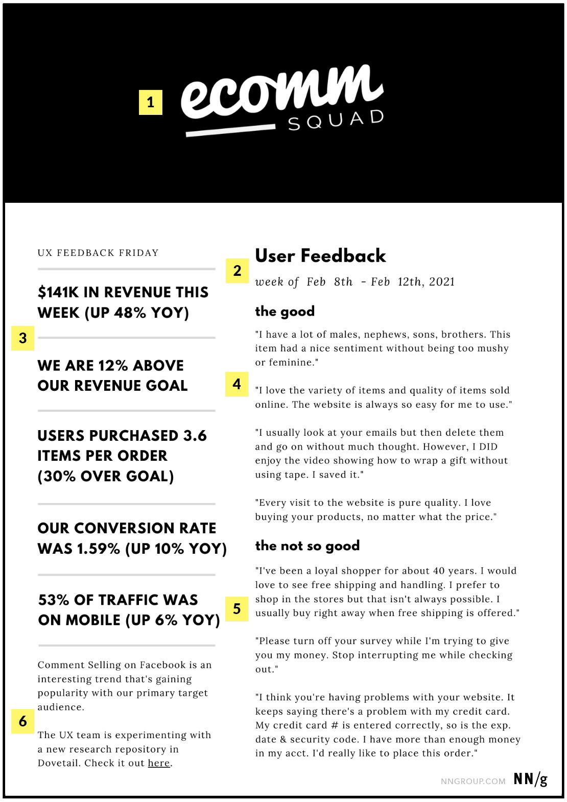 Informe de progreso de UX semanal con comentarios y progreso hacia las métricas.