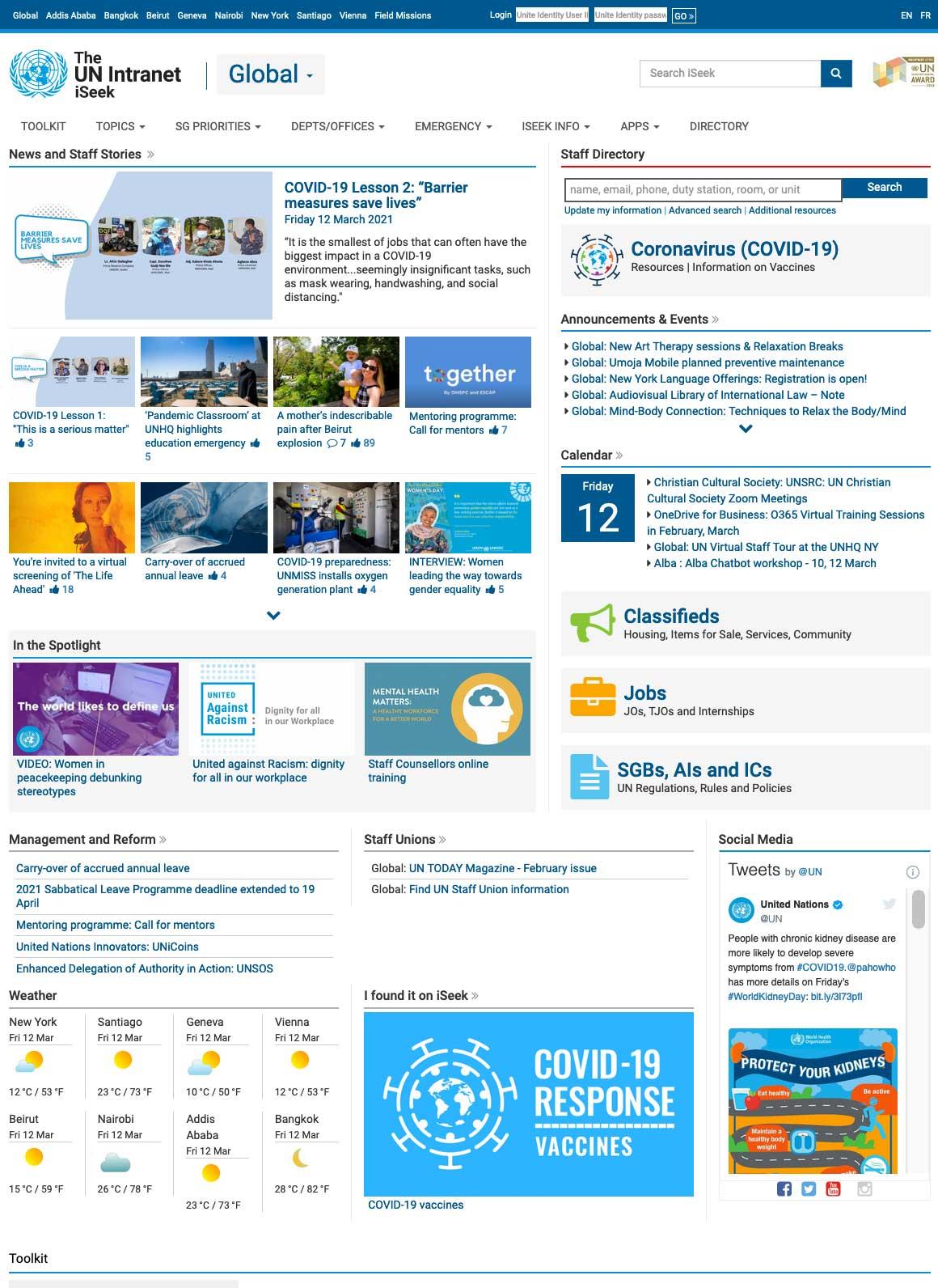 Página de inicio de ISeek en la intranet de la ONU.