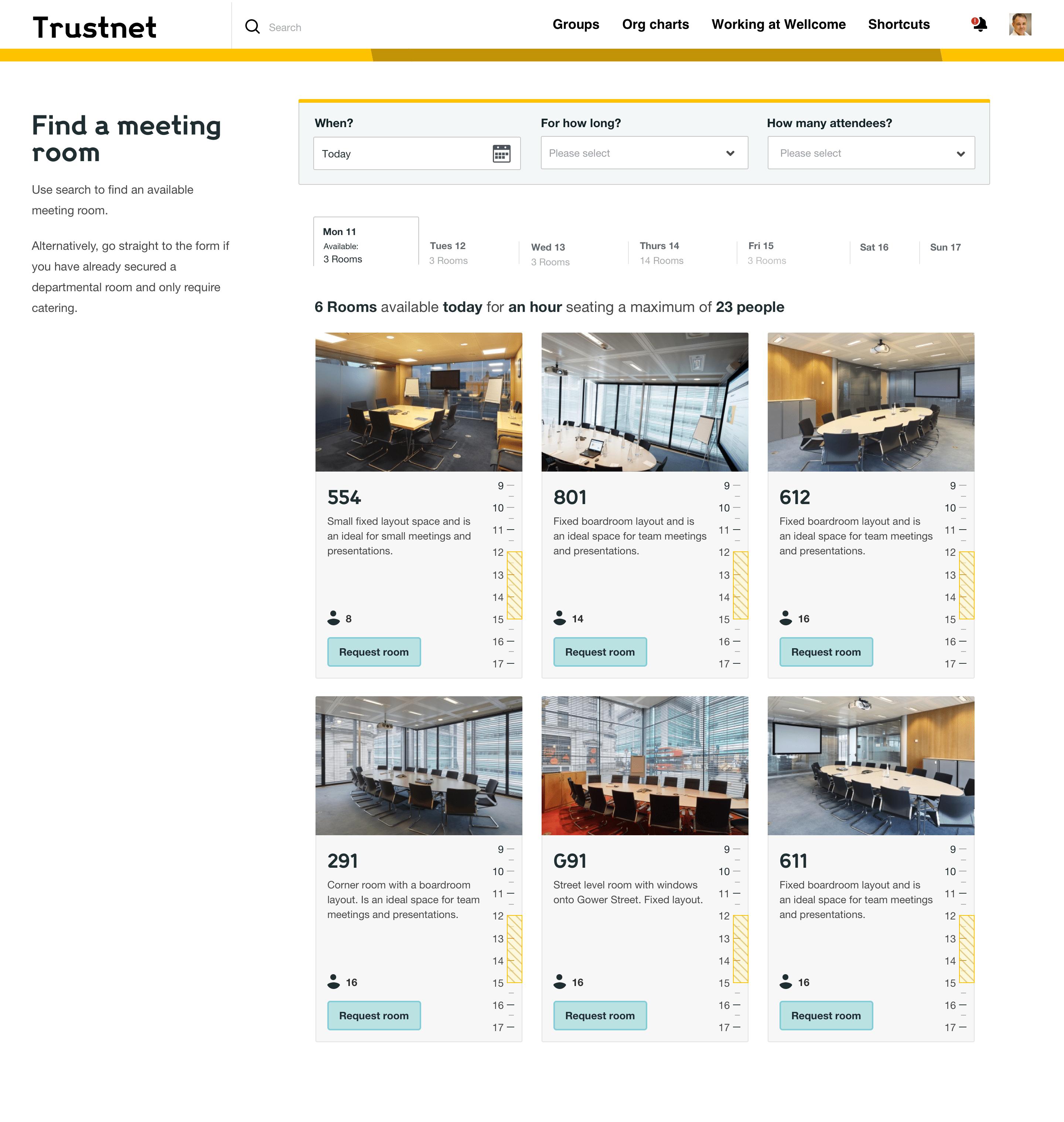 Trustnet上的会议室查找工具的屏幕截图。可用的房间在卡片上显示,每个会议室的照片和每个房间的描述。用户可以搜索和过滤房间。