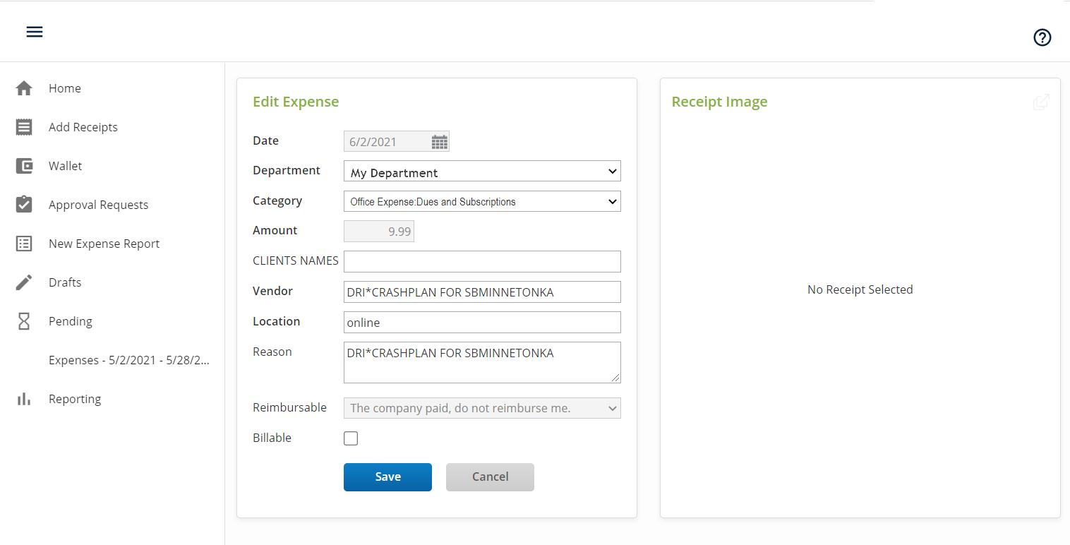 captura de pantalla de la pantalla de edición de gastos